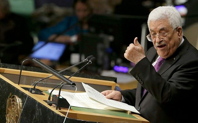 Palestinian Authority President Mahmoud Abbas addresses the 70th session of the United Nations General Assembly, at UN Headquarters, September 30, 2015. (AP/Mary Altaffer)