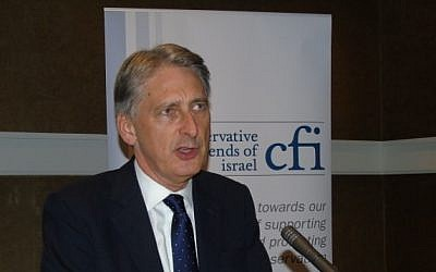 Newly appointed British chancellor of the exchequer, Philip Hammond, addresses the Conservative Friends of Israel, Manchester, October 6, 2015. (Conservative Friends of Israel)