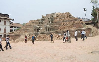Bhaktapur, a popular tourism destination filled with beautiful ornate temples just outside Kathmandu, was largely destroyed in the earthquake as seen in this photo from May 7, 2015 . Most of the city survived unscathed, though it is still dealing with the economic fallout of the earthquake's effect on tourism. (Melanie Lidman/Times of Israel)