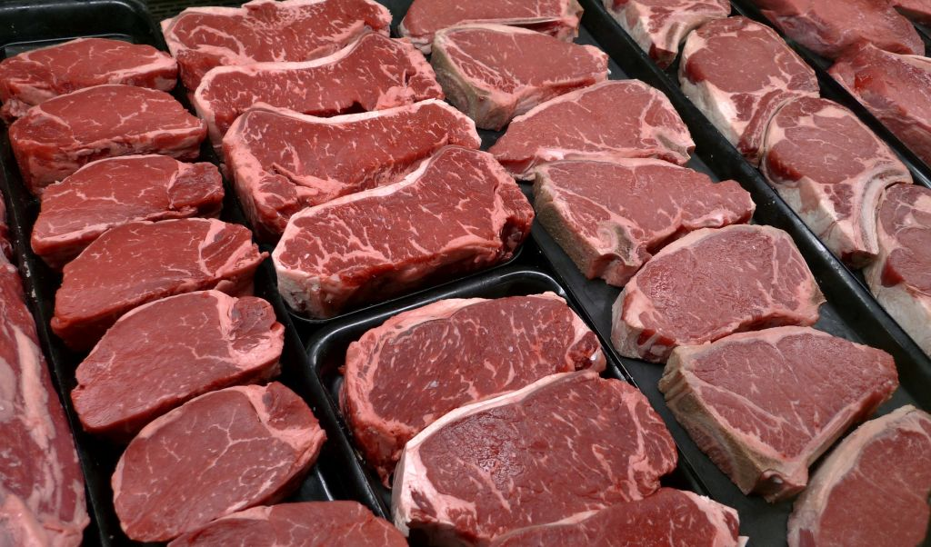 Steaks and other beef products are displayed for sale at a grocery store in  McLean,