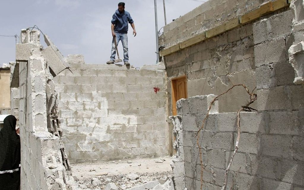 Illustrative photo of a demolished illegal building in Beit Hanina,  East Jerusalem. (Sliman Khader/FLASH90)