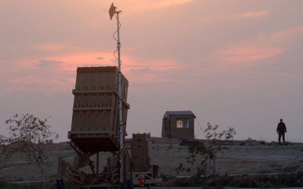 An Iron Dome missile defense system deployed near the southern Israeli town of Beersheba in 2014. (Flash90/File)