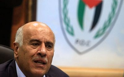 Jibril Rajoub at a press conference in Ramallah, February 12, 2014. (Issam Rimawi/Flash90)