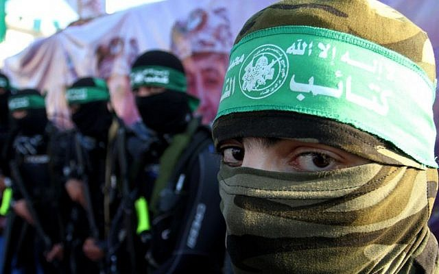 Palestinian members of the marine unit of the Izz a-Din al-Qassam Brigades, the armed wing of the Hamas movement, take part in an anti-Israel parade in Rafah, in the southern Gaza Strip on July 13, 2015. (Abed Rahim Khatib/Flash90)