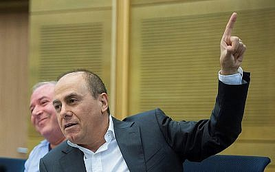 Interior Minister Silvan Shalom speaks during a session of the Immigration and Absorption Committee at the Knesset in July 2015. (Yonatan Sindel/Flash90)