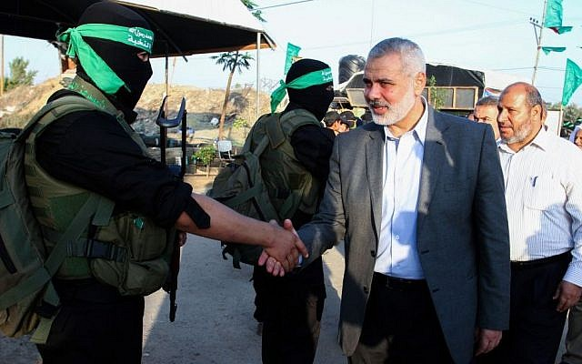 Senior Hamas leader Ismail Haniyeh arrives at a youth summer camp, organized by the Hamas movement, in Rafah in the southern Gaza Strip, August 1, 2015. (Abed Rahim Khatib/Flash90)