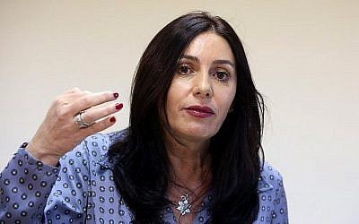 Minister of Culture and Sports Miri Regev speaks to press in Jerusalem on August 31, 2015. (Marc Israel Sellem/POOL)