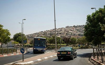 A view of the Arab village of Tsur Baher from one of the main streets leading out of Armon Hanatziv (Hadas Parush/Flash 90)