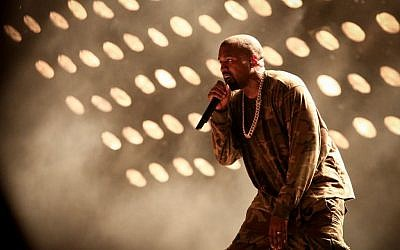 American rapper Kanye West performs at the Ramat Gan Stadium, near Tel Aviv, on September 30, 2015. (Flash90)