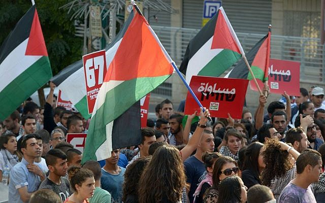 Some 1,500 Israeli Arabs protest 'the Israeli occupation' in the northern Israeli city of Nazareth on October 10, 2015. (Basel Awidat/Flash90)