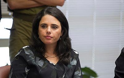 Justice Minister Ayelet Shaked of the Jewish Home party seen at a party meeting in the Knesset, October 12, 2015. (Miriam Alster/Flash90)