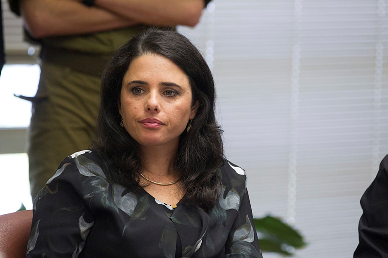 Justice Minister Ayelet Shaked of the Jewish Home party seen during a party meeting at the Knesset, in Jerusalem on October 12, 2015. (Miriam Alster/Flash90)