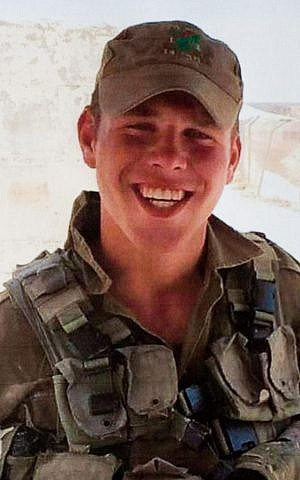 Reproduction photo of Golani soldier Omri Levi, who was killed in a shooting attack at the central bus station in the southern city of Beersheba on Sunday, October 18, 2015 (Roy Alima/Flash90)