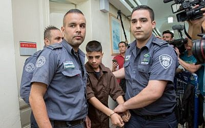 13-year-old Palestinian Ahmed Manasra seen at the Jerusalem Magistrate's Court on October 25, 2015. (Yonatan Sindel/Flash90)