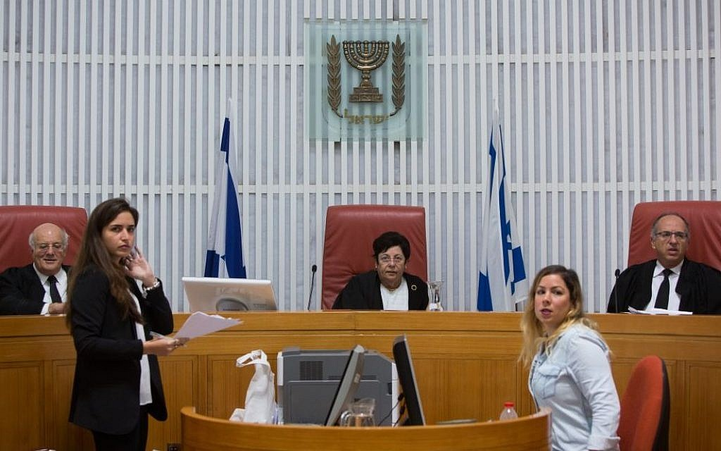 Israel Supreme Court Chief Justice Miriam Naor (seated, center) during a court hearing, October 29, 2015. (Yonatan Sindel/Flash90)