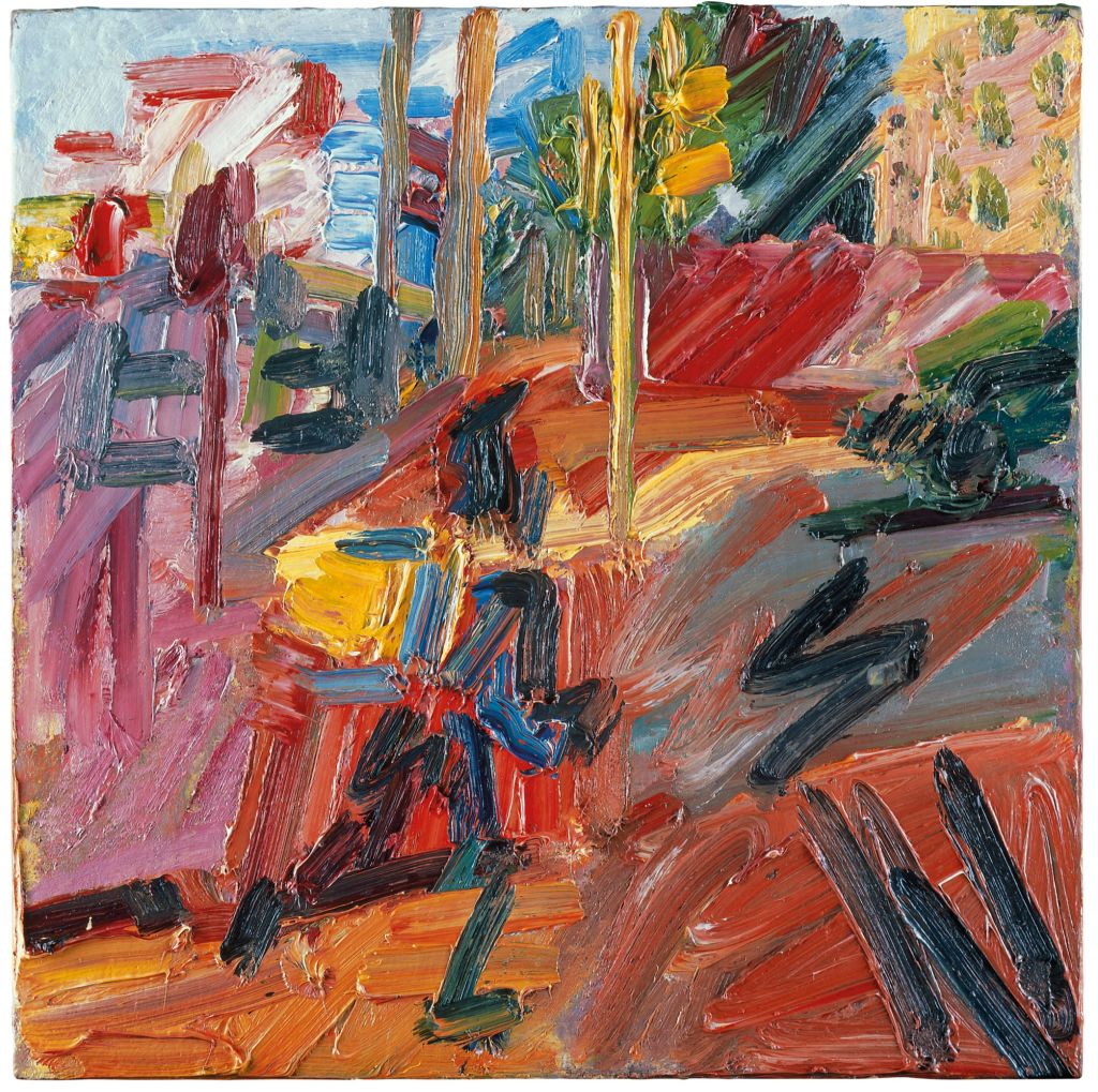 Frank Auerbach's Hampstead Road in the summer. Oil paint on board, 2010 (Courtesy: Marlborough Fine Art)