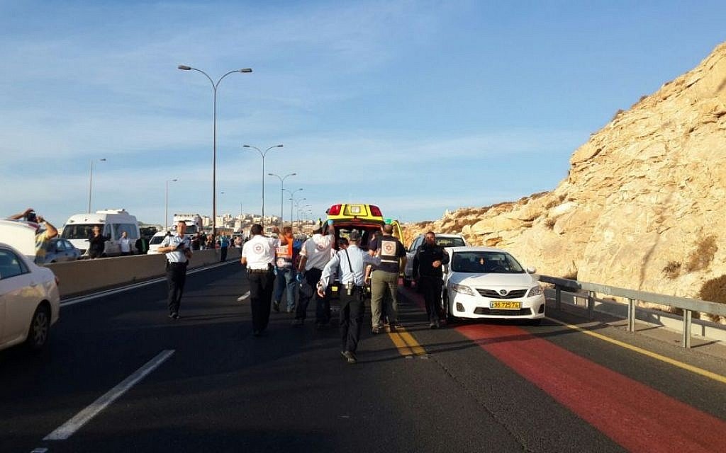 Medics at the scene of an attempted suicide bombing near Jerusalem on Sunday morning, October 11, 2015 (Magen David Adom)