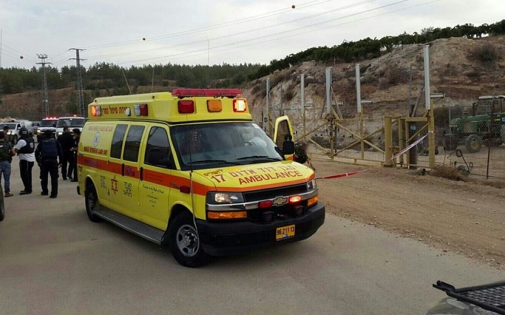 An ambulance on the scene of a stabbing attack at the Gvaot checkpoint in Gush Etzion, where an IDF soldier, 20, was stabbed on Friday, October 23, 2015. The attacker was shot. (Magen David Adom)