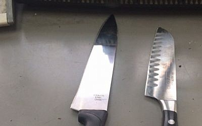 Two knives found in the possession of East Jerusalem schoolboys who allegedly intended to use them in a stabbing attack (Courtesy: Border Police)