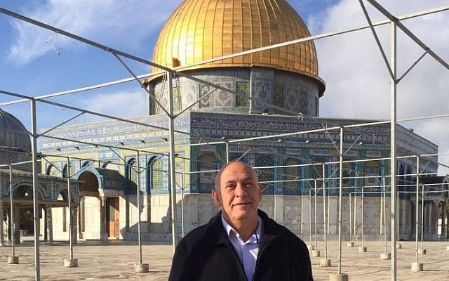 MK Basel Ghattas on the Temple Mount on October 28, 2015 (Courtesy Joint List)