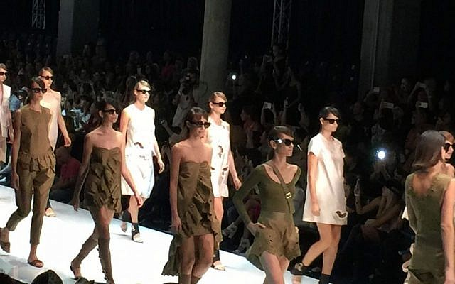 The final runway walk of the Sample collection at Tel Aviv Fashion Week (Jessica Steinberg/Times of Israel)