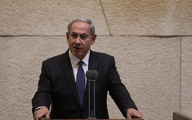 Prime Minister Benjamin Netanyahu addresses the Knesset plenum on the security situation, hours after three Israelis were killed in terror attacks, on October 13, 2015. (Photo from Knesset Spokesman)
