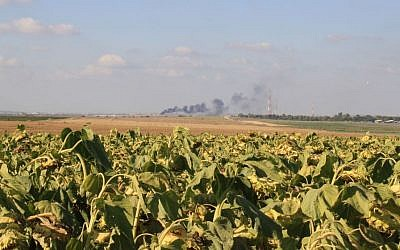 The fields of Kibbutz Nahal Oz, on the border of the Gaza Strip, where smoke rises in the distance. (Amir Tibon/Times of Israel)