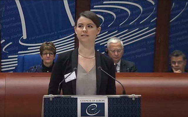 Jane Braden-Golay, an activist against anti-Semitism. (YouTube/European Union of Jewish Students)