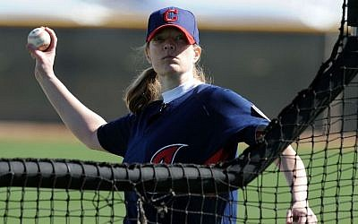 Justine Siegal, prior to coaching for the Oakland Athletics, had already made baseball history by throwing batting practice for the Cleveland Indians in 2011. (Norm Hall/Getty Images/via JTA)