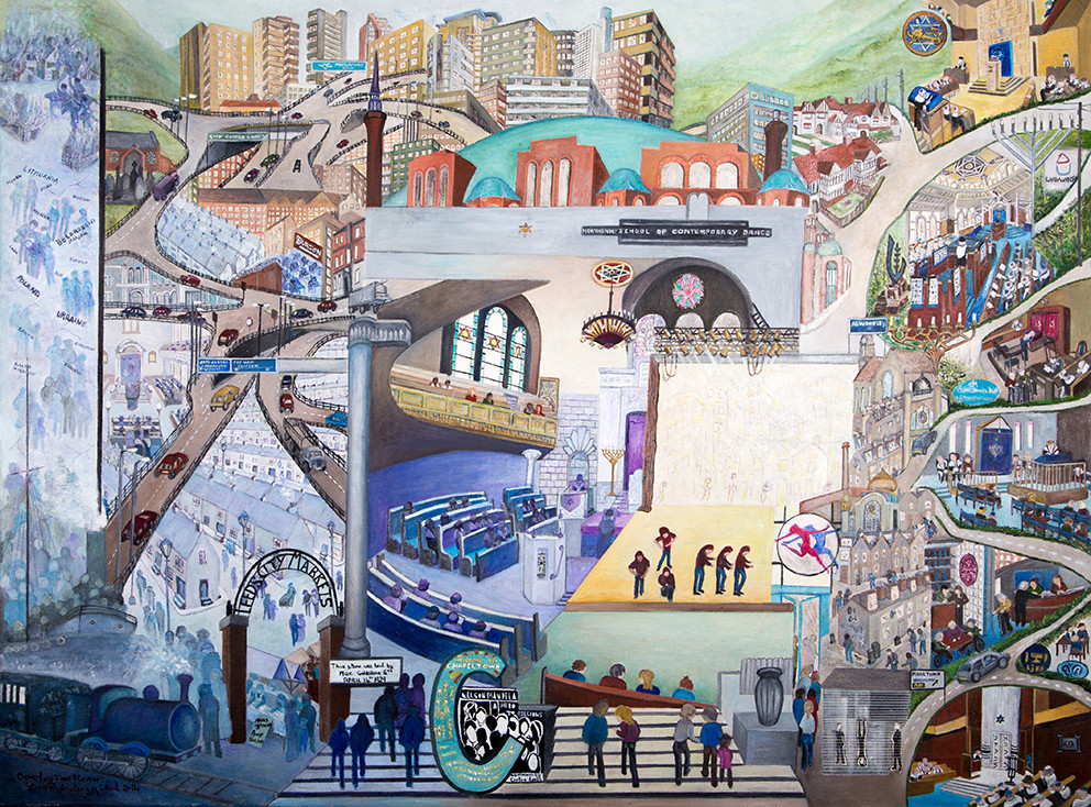Beverley-Jane Stewart's two-part paintings of the (now closed) Chapeltown Synagogue in Leeds show the synagogue itself, together with its transformation in the Institute of Contemporary Dance in the city. (courtesy)