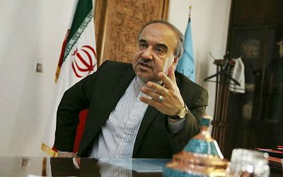 Iran's Vice President Masoud Soltanifar, who is also chief of the Cultural Heritage, Handicrafts and Tourism Organization, gestures as he speaks in an interview with The Associated Press at his office in Tehran, Iran, Sunday, Oct. 18, 2015. (AP Photo/Vahid Salemi)