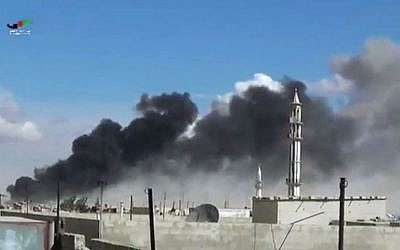Illustrative image of airstrikes on the town of Talbiseh in the Homs province, western Syria, September 30, 2015. (Homs Media Centre via AP)