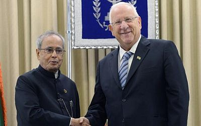 Indian President Pranab Mukherjee meets with Israeli President Reuven Rivlin during the first official visit to Israel of an Indian leader, October 14, 2015 (Photo by Mark Neyman/GPO)