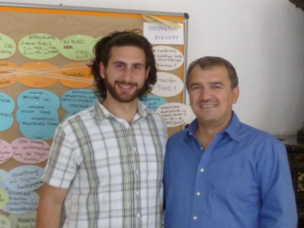 Hasan-Ali Yildirim (left) and Kiga founder Aycan Demirel at Kiga headquarters. (Miriam Dagan/Times of Israel)