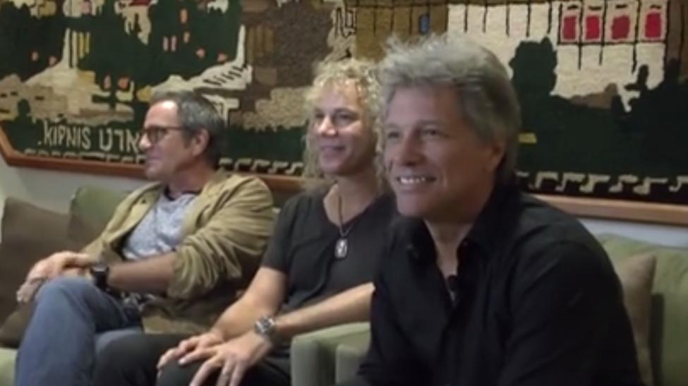 Bon Jovi members in Israel on Friday. From left: Drummer Tico Torres, keyboard player David Bryan, and singer Jon Bon Jovi. (Facebook)