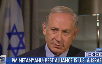 Prime Minister Benjamin Netanyahu speaks to Fox News in an interview aired October 2, 2015. (screen capture: Fox News)