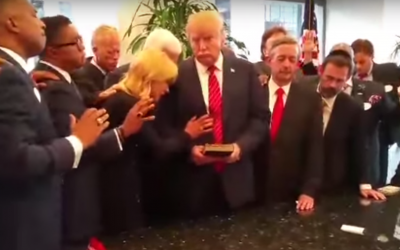 Donald Trump gets blessing (YouTube screenshot)