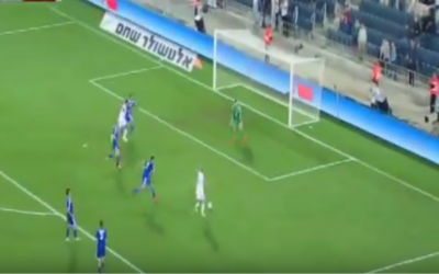 Jason Demetriou fires home the winning goal for Cyprus in its 2-1 defeat of Israel at Teddy Stadium, October 10, 2015 (YouTube screenshot)