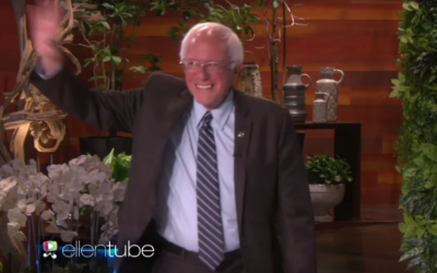Bernie Sanders shimmies onto 'Ellen' (YouTube screenshot)