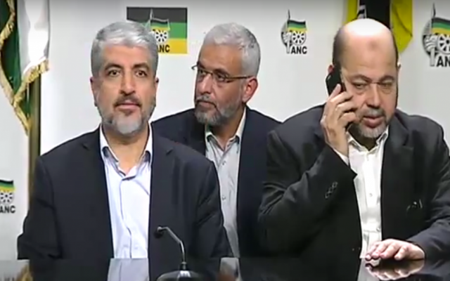 Hamas officials at a press conference with officials of South Africa's ANC party, in Pretoria on Monday, October 19, 2015 (screen capture: YouTube)