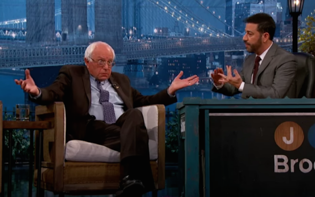Democratic presidential hopeful Bernie Sanders on 'Jimmy Kimmel Live!' on October 21, 2015. (screen capture: YouTube)