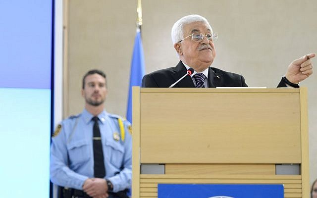 Palestinian Authority President Mahmoud Abbas addresses the UN Human Rights Council at the European headquarters of the United Nations, in Geneva, Switzerland, October 28, 2015. (Martial Trezzini/Keystone via AP, File)
