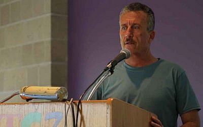 Palestinian activist Bassem Tamimi speaks at a small college in Cortland, New York in September, 2015. (Eric Cortellessa/The Times of Israel)