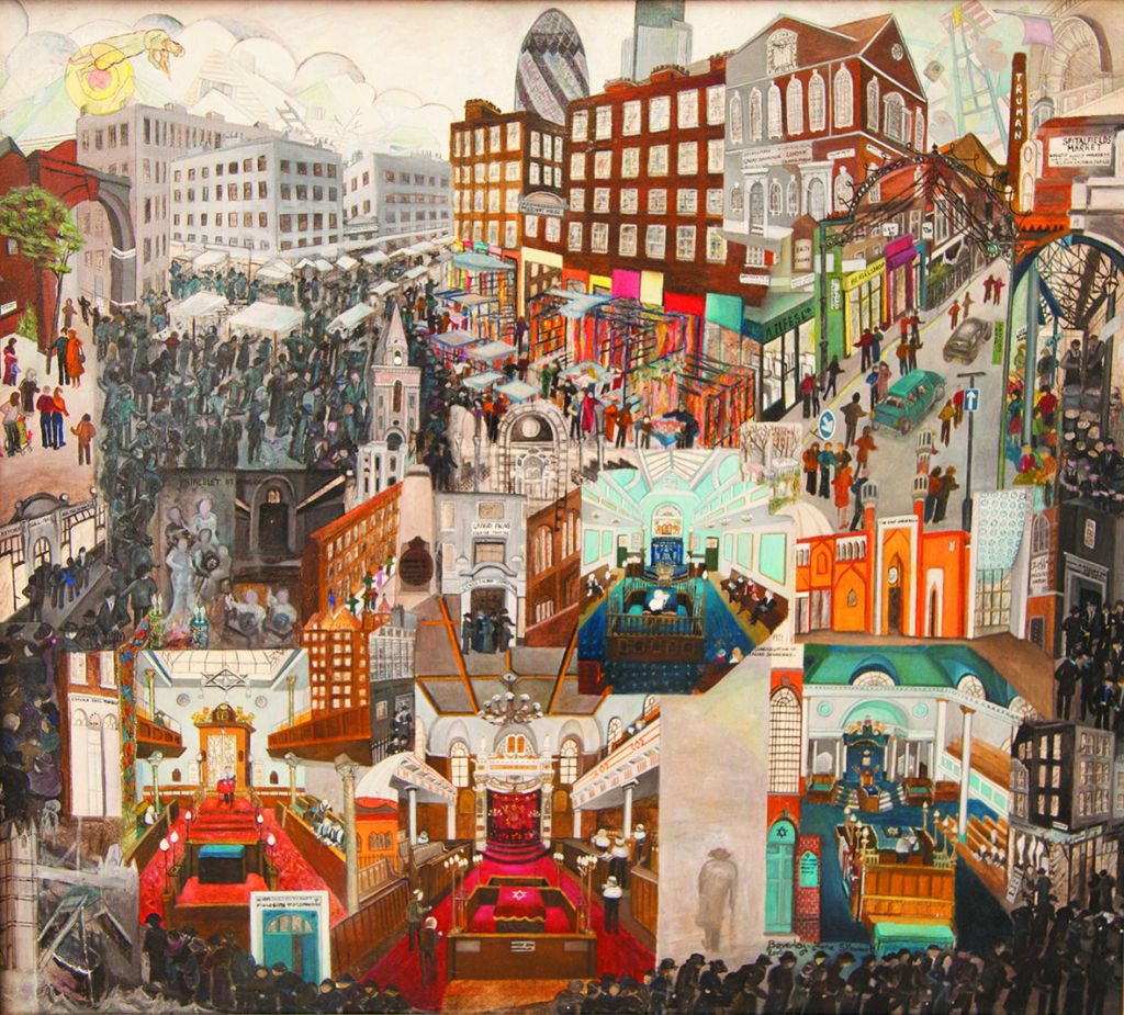 In 'The Story of East End,' Beverley-Jan Stuart depicts the formerly Jewish area's glory days set against the commercial hum of the East End of the city today and its dizzying mix of Muslim immigrants from a dozen different countries. (courtesy)