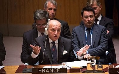 France's Foreign Minister Laurent Fabius speaks during a United Nations Security Council meeting at the United Nations headquarters, September 30, 2015. (AP/Kevin Hagen)