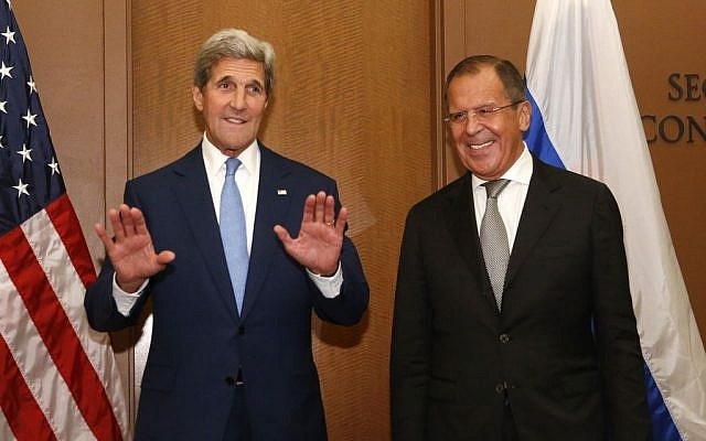 US Secretary of State John Kerry, left, meets with Russia's Foreign Minister Sergey Lavrov at U.N. headquarters, Wednesday, Sept. 30, 2015. (Photo by AP Photo/Jason DeCrow)