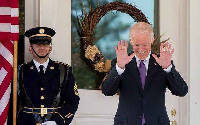 Vice President Joe Biden reacts to questions about his potential run for president by members of the media as he waits for South Korean President Park Geun-hye to arrive for lunch at the Naval Observatory, Thursday, Oct. 15, 2015, in Washington. (AP Photo/Andrew Harnik)