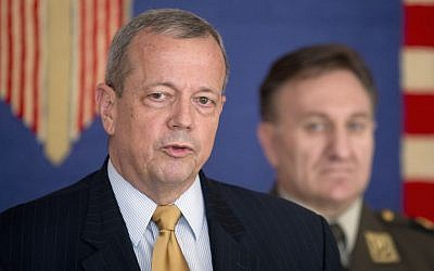 In this June 9, 2015 file photo, Retired Gen. John Allen, special US envoy for the global coalition to counter Islamic State militants, speaks in Zagreb, Croatia. (AP Photo/Darko Bandic, File)