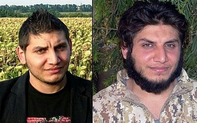 Mohammed Dalaeen, a son of Jordanian parliament member Mazen Dalaeen before (L) and after joining Islamic State extremists (Courtesy of the Dalaeen family/Militant website via AP)