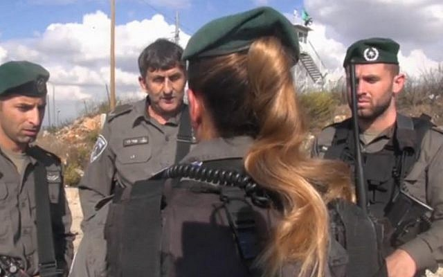Cpl. A, a border policewoman who immigrated from France, shot two Palestinian assailants at the Tapuah Junction on Friday, October 30, 2015 (Israel Police video)